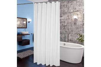 (180cm W x 210cm L, Solid White) - Extra Long Shower Curtain Liner, Aoohome Mildew Resistant Fabric Shower Curtain for Hotel with Weighted Hem, Waterproof, 180cm x 210cm , White