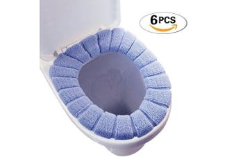 (6pcs[sent in Random Color ]) - BTHEONE [6 Pcs] Bathroom Soft Thicker Warmer Stretchable Washable Cloth Toilet Seat Cover Pads(6Pcs[Sent in Random Colour ])