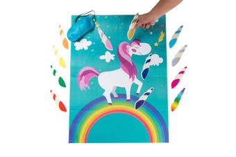 (Green) - MISS FANTASY Pin The Horn on The Unicorn Birthday Party Favour Games Kids Party Supplies Unicorn Gifts for Girls Game Include a Large Poster 24 Reusable Sticker Horns Good for Big Parties