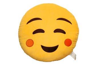 (Relaxed) - EvZ 32cm Emoji Smiley Emoticon Yellow Round Cushion Stuffed Plush Soft Pillow