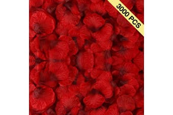 (Dark Red) - BESKIT 3000 Pieces Dark Red Rose Petals Artificial Flower Silk Petals for Valentine Day Wedding Flower Decoration