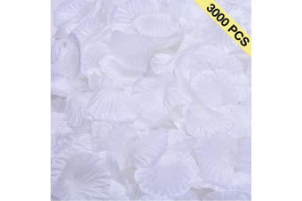 (White) - BESKIT 3000 Pieces Rose Petals Artificial Flower Silk Petals for Valentine Day Wedding Flower Decoration (White)