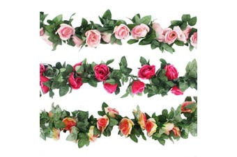 CEWOR 3pcs (6.9m) Artificial Rose Vine Fake Flower Garland for Wedding Home Garden Party Decoration (Champagne, Pink, Hot Pink)