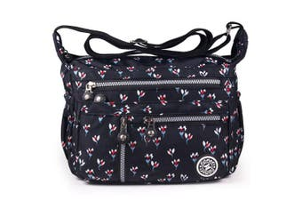 (4-black-floral (Customized)) - ABLE Women Anti Splash Water Shoulder Messenger Crossbody Bags