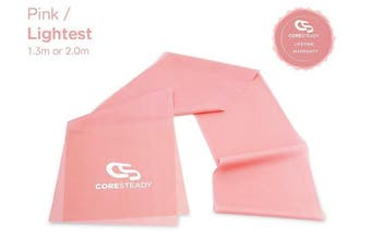 (#1 PINK / LIGHTEST, 1.3 Metre) - Coresteady Resistance Bands   Premium Quality Fitness Bands for Pilates, Yoga, Strength Training   Physiotherapy & Rehabilitation   For Men & Women   Exercise Guide Included