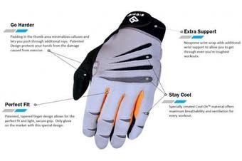 (Gray/Orange, X-Large) - Bionic Gloves Men's Premium Full Finger Fitness Gloves w/Natural Fit Technology, Grey/Orange (PAIR)!
