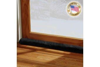 (90cm L - Single, Black) - LAMINET - 100% Organic Natural - Black - Door & Window Draught Stopper - Made in USA