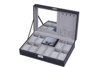 Jewellery Box 8 Watch Display Case Organiser Jewellery Storage Box Black PU Leather with Mirror and Lock