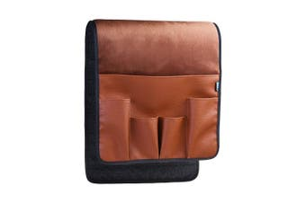 (Brown) - BCP Brown Colour Velvet Sofa Couch Chair Armrest Soft Caddy Organiser Holder for Remote Control, Cell Phone, Book, Pencil