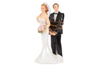 Wedding Cake Topper - Bride and Tied Up Groom Figurines - Fun Wedding Couple Figures for Decorations and Gifts -2.6 x 12cm x 5.8cm