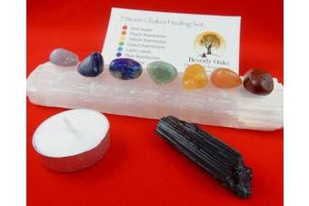 10 pc Chakra Crystal Healing Kit: Large Selenite Bar, 7 Chakra Natural Polished Tumbled Stones in black velvet bag with Chakra Information Card, Black Tourmaline Specimen, Votive, Beverly Oaks COA