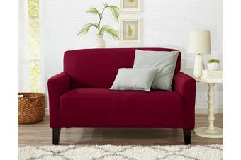 (Love Seat, Tawny Port Red) - One Piece Loveseat Silpcover, Slip Resistant, Stylish Furniture Cover / Protector. Dawson Collection Basic Strapless Slipcover by Great Bay Home Brand. (Loveseat, Tawny Port Red)