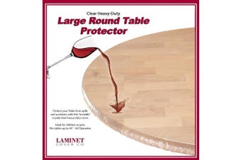 """(Large Round Table) - LAMINET - Plastic Elastic Fitted Table Cover Protector - CLEAR - Large Round - Fits tables up to 110cm - 56"""" Diameter"""
