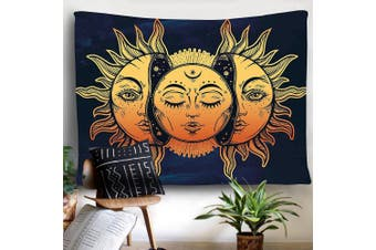 (150cm  x 210cm , Face) - BLEUM CADE Psychedelic Tapestry Indian Moon and Sun with Many Fractal Faces Tapestry Celestial Energy Mystic Tapestries Wall Hanging Tapestry for Bedroom Living Room Dorm (150cm x 210cm , Face)