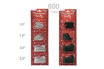 (600pc (300 Green & 300 Silver)) - 600pc Christmas Holiday Ornament Hanger Hooks (300 Green & 300 Silver)