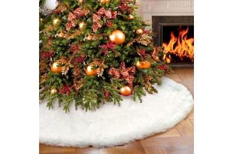 AerWo Faux Fur Christmas Tree Skirt 120cm Snowy White Tree Skirt for Christmas Decorations