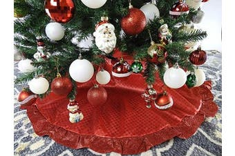 (Px2. Red) - 120cm Red Fabric With Red Glitter Christmas Tree Skirt - Red