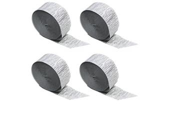 (Silver 4 Rolls) - Silver Metallic Crepe Paper Colour Combinations (Silver 4 Rolls), 90m TOTAL, Made in USA
