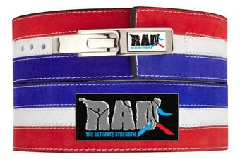 (Blue & Red, Small) - 2Fit CowHide Leather Gym Weight Lifting Lever Buckle Power Belt Fitness Exercise Bodybuilding Powerlifting Heavy Duty Back Strap Man Women Unisex