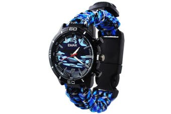(Blue) - Outdoor Survival Watch Military Compass Thermometer Paracord Rope Bracelet Wristband Hand-woven Camouflage Men Wrist Watch