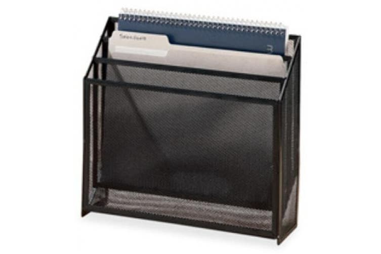 Rolodex 22347 Mesh three-tier organizer, black, 12-3/4w x 3-1/2d x 11-1/2h