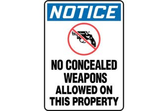 ACCUFORM SIGNS Sign, No Concealed Weapons, 18cm x 25cm . MACC810VA