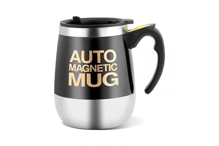 (Black) - Self Stirring Coffee Mug Stainless Steel Auto Magnetic Mug for Coffee/Tea/Hot Chocolate/Milk/Cocoa Protein (Black)