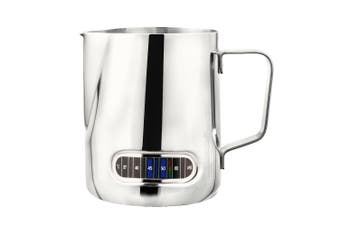 Milk Frothing Pitcher with Thermometer Stainless Steel 600ml Coffee Frothing Jug Home Kitchen Milk Cup