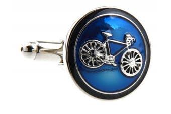 (Blue) - Covink® Bicycle Bike Rider Cufflinks Biking Cycling Symbol Round Cufflink Set Cufflinks Cuff Buttons One Pair with a Presentation Gift Box