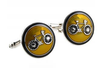 (Yellow) - Covink® Bicycle Bike Rider Cufflinks Biking Cycling Symbol Round Cufflink Set Cufflinks Cuff Buttons One Pair with a Presentation Gift Box