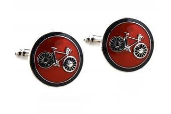(Red) - Covink® Bicycle Bike Rider Cufflinks Biking Cycling Symbol Round Cufflink Set Cufflinks Cuff Buttons One Pair with a Presentation Gift Box