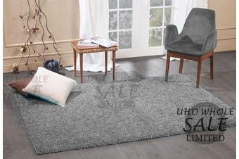 (Grey, 120 x 170 cm) - FB FunkyBuys® Large Small Modern Soft Touch Shaggy Thick Luxurious 5cm Dense Pile Bedroom Rug - Available in 12 Vibrant Colours & 4 Sizes (Grey, 120 x 170 cm)