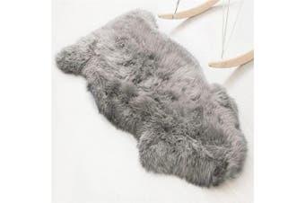 (Grey, 60 x 90) - Faux lambskin sheepskin rug (60 x 90 cm), lambskin imitation rug, longhair fur, Leather Polyester, grey, 60 x 90 cm
