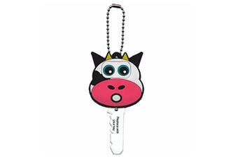 (cow) - cow Funky Dude Animal Buddies Key Cover Cap With LED Torch Light And Chain