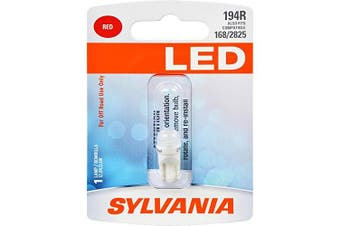 SYLVANIA 194 T10 W5W Red LED Bulb, (Contains 1 Bulb)