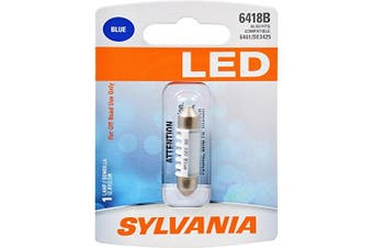 (6418, Blue) - SYLVANIA - 6418 36mm Festoon LED Blue Mini Bulb - Bright LED Bulb, Ideal for Ash Tray, Dome, Engine Compartment and More. (Contains 1 Bulb)