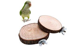 Itemap Pet Parrot Bird Round Wooden Coin Platform Chew Toy for Birdcage Accessories