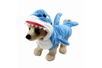 (M for 5.0~3.9kg) - Mogoko Fancy Style Adorable Blue Shark Jaws And Elf Reindeer Pet Costume Festival Dress Clothing Outfit Hoodie Coat for Dogs and Cats