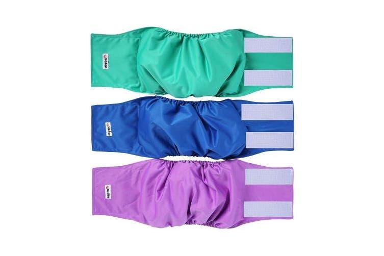 (Large, Blue,Green,Purple without Pocket) - Wegreeco Washable Male Dog Nappies (Pack of 3) - Washable Male Dog Belly Wrap