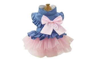 (M, Pink) - BBEART Pet Clothes, Sweet Bowknot Small Dog Skirt Girl Tutu Clothing Puppy Cat Sleeveless Apparel Teddy Clothes Harness Wedding Dresses for Spring and Summer