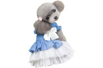 (S, White) - BBEART Pet Clothes, Sweet Bowknot Small Dog Skirt Girl Tutu Clothing Puppy Cat Sleeveless Apparel Teddy Clothes Harness Wedding Dresses for Spring and Summer
