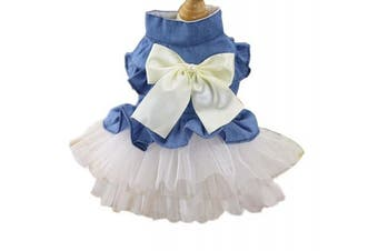(L, White) - BBEART Pet Clothes, Sweet Bowknot Small Dog Skirt Girl Tutu Clothing Puppy Cat Sleeveless Apparel Teddy Clothes Harness Wedding Dresses for Spring and Summer