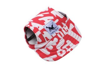 (S, Red Letters) - BBEART Dog Hat,Dog Sunscreen Hat Baseball Cap Outdoor Sports Hat with Ear Holes and Chin Strap Adjustable Hat for Small and Medium Dog