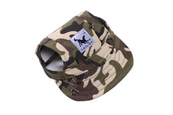 (M, Camouflage) - BBEART Dog Hat,Dog Sunscreen Hat Baseball Cap Outdoor Sports Hat with Ear Holes and Chin Strap Adjustable Hat for Small and Medium Dog