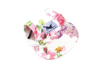 (S, Flower) - BBEART Dog Hat,Dog Sunscreen Hat Baseball Cap Outdoor Sports Hat with Ear Holes and Chin Strap Adjustable Hat for Small and Medium Dog