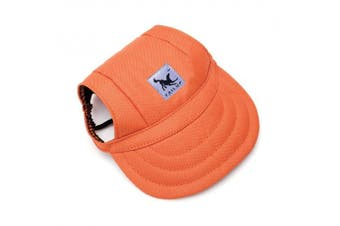 (S, Orange) - BBEART Dog Hat,Dog Sunscreen Hat Baseball Cap Outdoor Sports Hat with Ear Holes and Chin Strap Adjustable Hat for Small and Medium Dog