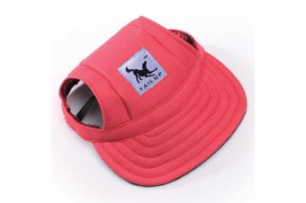 (M, Red) - BBEART Dog Hat,Dog Sunscreen Hat Baseball Cap Outdoor Sports Hat with Ear Holes and Chin Strap Adjustable Hat for Small and Medium Dog