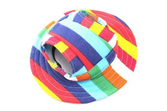 (Size S) - BUYITNOW Round Brim Pet Sun Visor Hat with Ear Holes Mesh Porous Stripe for Small Dogs