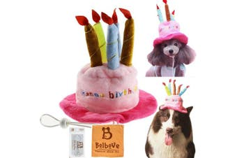 (Free size) - Bro'Bear Dog Birthday Hat with Cake & Candles Design Party Costume Accessory Headwear Pink (One Size Fits Most)