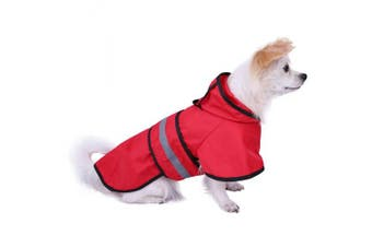(Small, Red) - HDE Dog Raincoat Hooded Slicker Poncho for Small to X-Large Dogs and Puppies